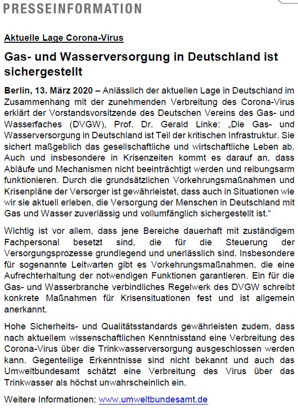 Information des deutschen Vereins des Gas und Wasserfaches Gas und Wasserversorgung in Deutschland ist sichergestellt 13 03 2020 1